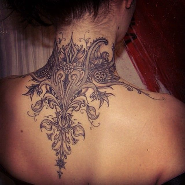 Back of neck tattoo