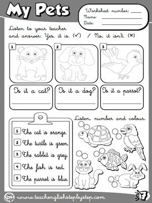 My Pets - Worksheet 5 (B&W version)