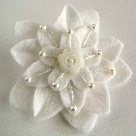 White on White Felt Flower Hair Clip with by dorothydesigns
