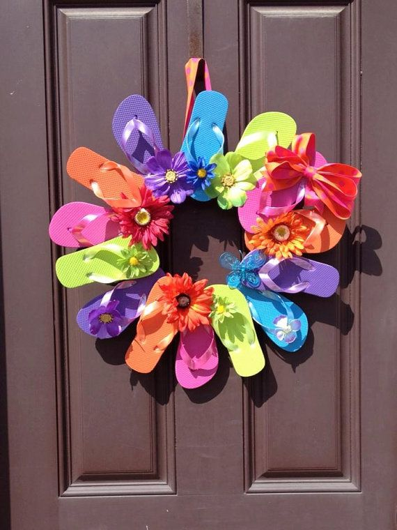 "Summer wreath on Etsy: ""Flip Flop Wreath Perfect for Summer Decor by MJDcreativeboutique, $40.00"""
