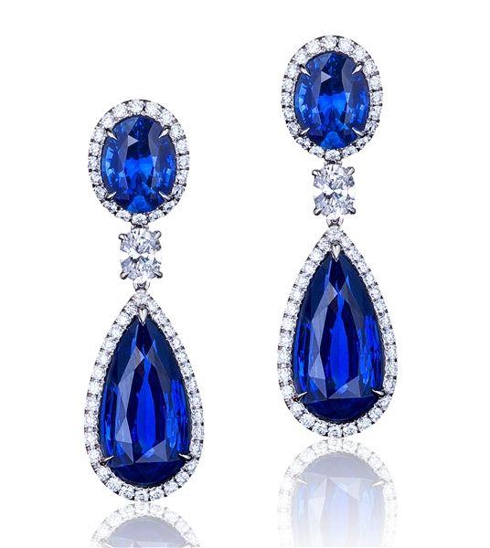 Bayco platinum sapphire drop earrings: