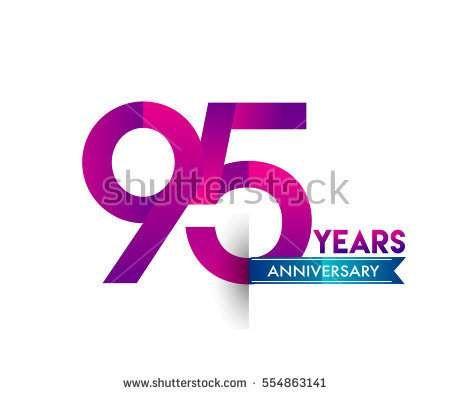 ninety five years anniversary celebration logotype colorfull design with blue ribbon, 95th birthday logo on white background
