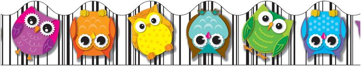 owl school theme | Back to School | Colorful Decorations | Colorful Owls Scalloped Border ...