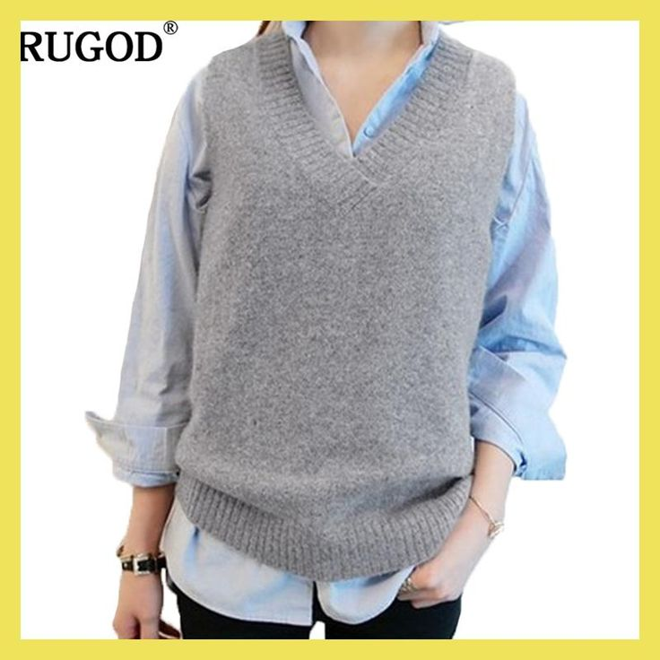 RUGOD Vest 2017 New Autumn Women Vest Pretty Sleeveless O-Neck Rabbit Hair Knitted Vest Women Plus Size 2XL 3XL 4XL Veste Femme