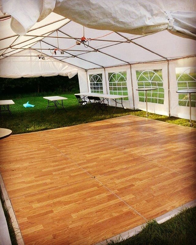 We can build a custom size dance floor for any event...even if sometimes our clients request a dance floor that is almost the size of their tent! Add some strand lighting & speakers for the complete look at your next party. #dmv #events #DC #dance #floor #tent #rental #eventrentalsdc #commercial #tentrental #districtofcolumbia #party #graduation #reception #wedding #trends #2016 #backyard #bbq