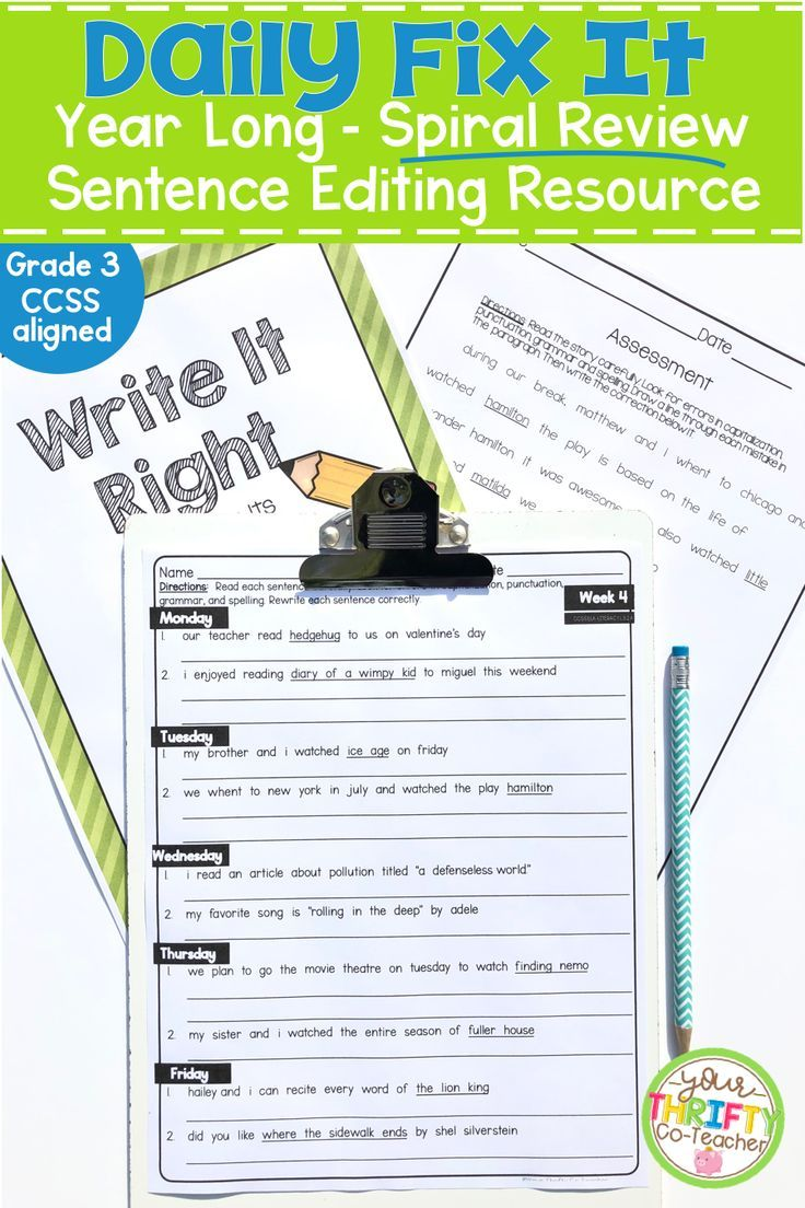 This Daily Fix It Sentence Editing Resource Provides Your Third Grade Students With Daily Spiral Re Daily Oral Language Sentence Editing Daily Language Review