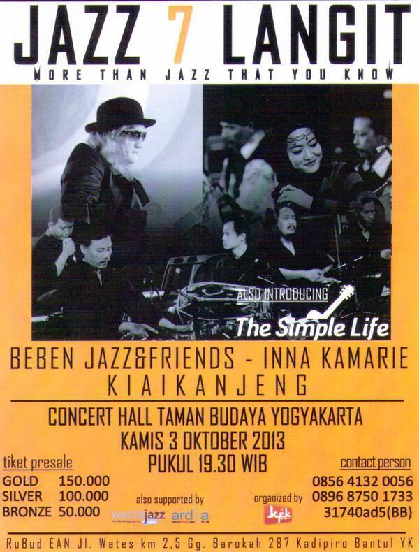 #eventjazz @Jazz7Langit 3 Oktober 2013. Taman Budaya Yogya 19:30 WIB.