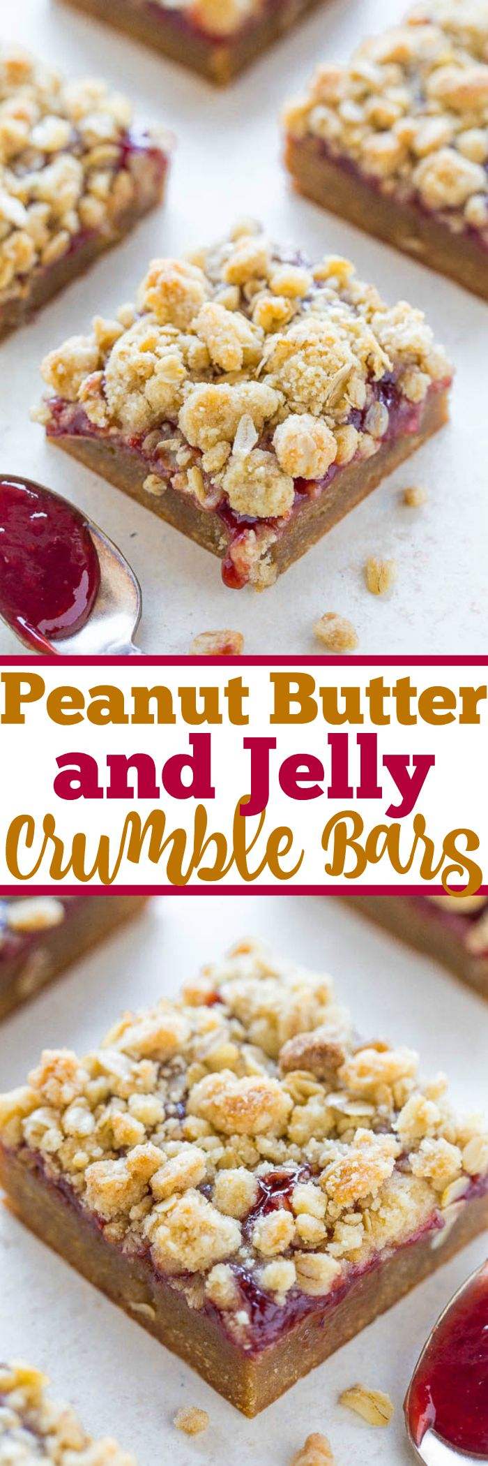 Peanut Butter and Jelly Crumble Bars - Soft and chewy PEANUT BUTTERY bars topped with strawberry jelly and a crispy oatmeal crumble topping!! Easy, no-mixer recipe that'll be your new FAVORITE way to eat PB&J!!