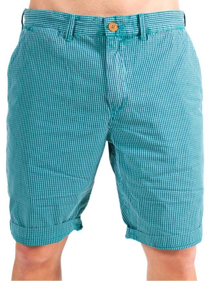 FUNKY BUDDHA Ανδρική fashion καρό βερμούδα μέχρι το γόνατο, τυρκουάζ αποχρώσεις. 34€ από 49€