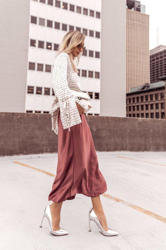 4ced3205d7425 Silk pink skirt midi Slip 90s skirt women silk clothing Long fall ...