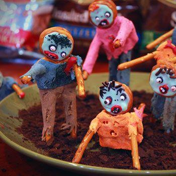 Zombie Pretzels #recipeCatie Food, Samhain Treats, Zombies Apocalypse, Fall Fun, Samhain Feast, Zombies Ideas, Pretzels Recipe, Zombies Pretzels, Halloween Ideas