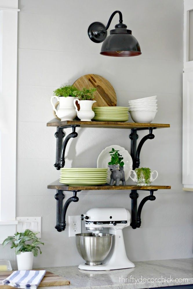 DIY wood and iron open shelves in