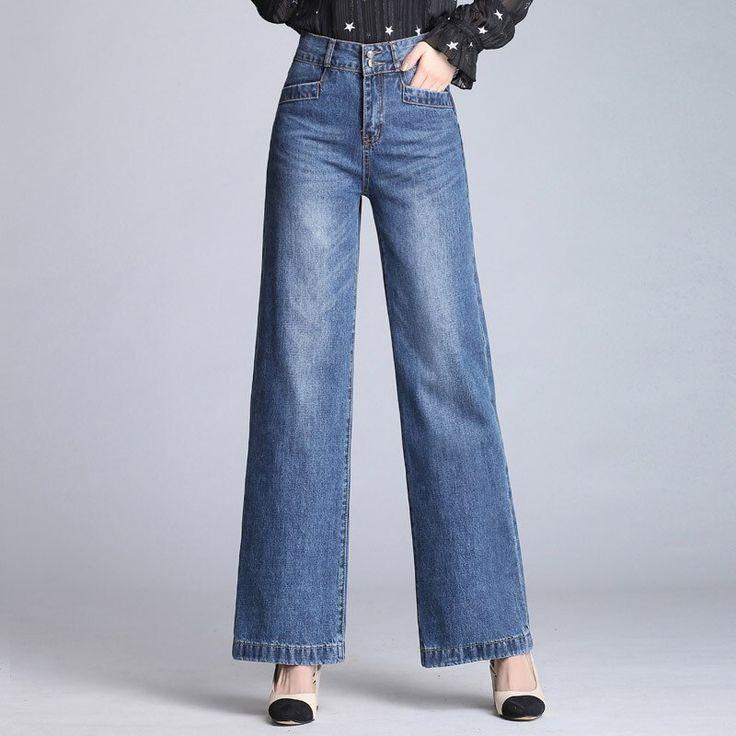 Envio Gratis 2018 Jeans Anchos Hasta La Pierna Para Mujer Pantalones Largos Y Rectos De Senora Fashion Women Jeans Styling Wide Leg Pants Wide Leg Denim