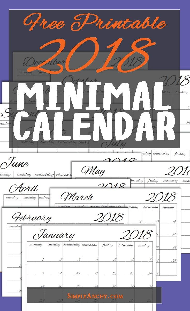 2018 Minimal Simple Calendar | Simply Anchy Recipes | Free printable