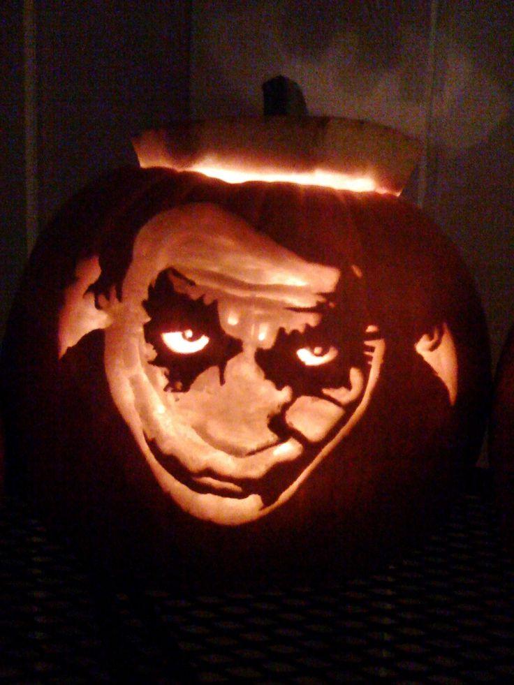 The Joker Dark Knight Carved Pumpkin Halloween Pumpkin