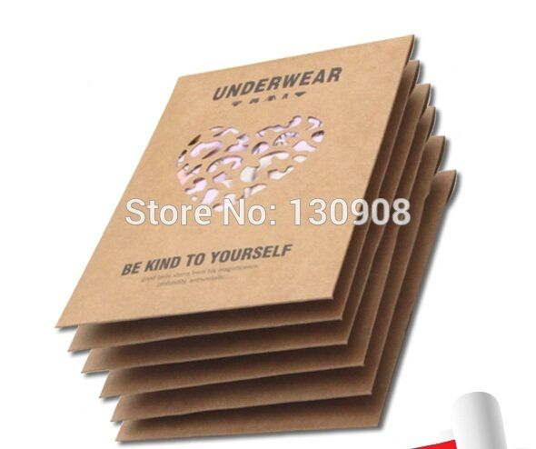 Free Shipping size 12.8*18cm Kraft paper underwear packaging boxes,packing underwear package with hanger Wholesale