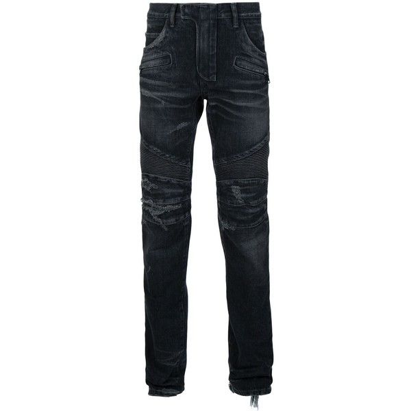 Balmain Distressed Biker Jeans ($817) ❤ liked on Polyvore featuring men's fashion, men's clothing, men's jeans, grey, mens grey slim fit jeans, mens flap pocket jeans, mens distressed jeans, mens torn jeans and mens ripped jeans
