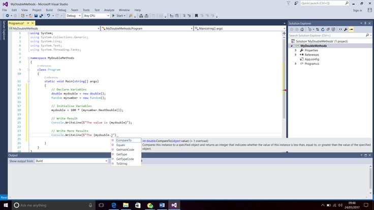 Screenshot of the Methods (e.g. ToString) with Data Type Double.  Programming Language - C#.  Text Editor - Visual Studio 2015 (Windows 10).  Taken on 24 January 2017.