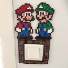 Mario and Luigi light switch frame nabbi beads by linda_jsson