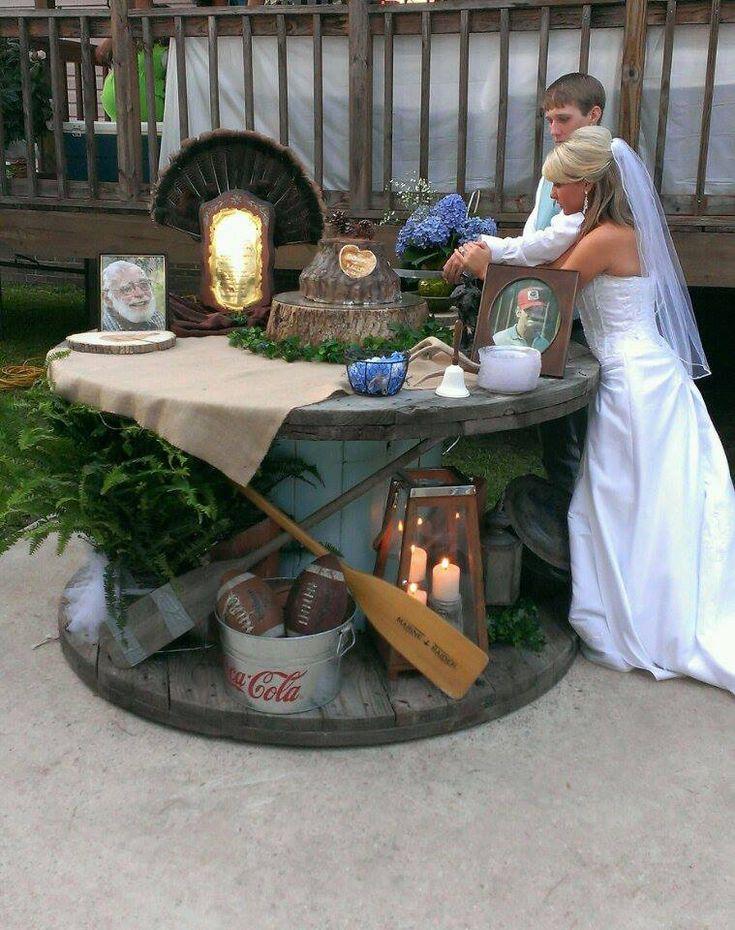 decorate grooms cake table with memorabilia representing him