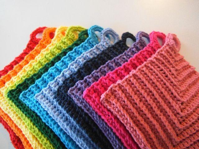 A Rainbow of Dishcloths, free crochet pattern by Apple Blossom Dreams