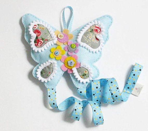 Pastel Butterfly  felt hairclip headband hairtie by InaSudjana