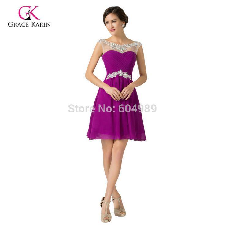 Grace Karin Beadings Blue,Medium Violet Red,Purple Short Bridesmaid Dresses Cheap Women's Knee-Length Chiffon Party Dress 7536