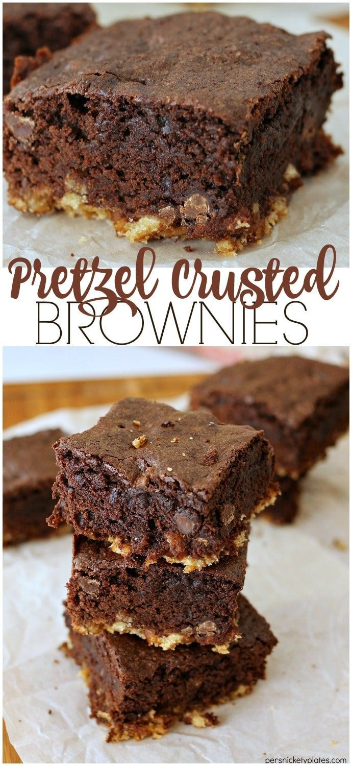 Pretzel Crusted Brownies - a layer of pretzel crust topped with a fudgy chocolate chip brownie. Sweet and salty in every perfect bite!