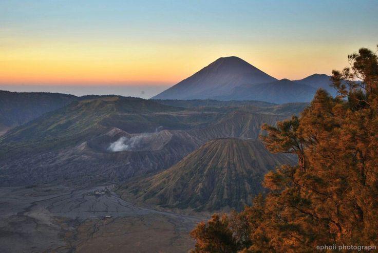 Bromo - Sumeru. View from mount Pananjakan, East Java, Indonesia