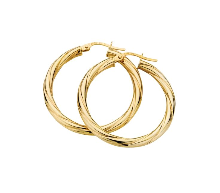 9ct Yellow Gold Twist Hoop Earrings 3/25mm, Earrings, SJ0573