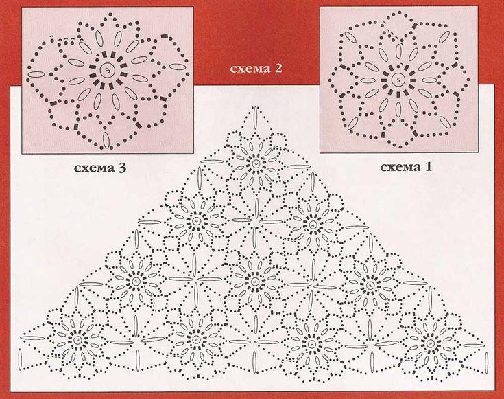 Схема вязания шали из цветочных мотивов