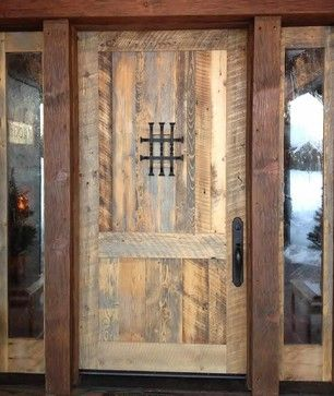 Front Entry Door With Working Speakeasy And Sidelights This Is An Engineered Completely Rustic DoorsBarnwood