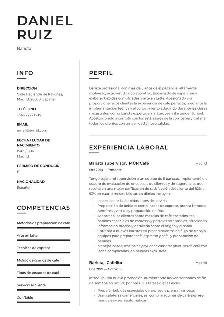 Ejemplo de CV para Barista en 2020 Habilidades de