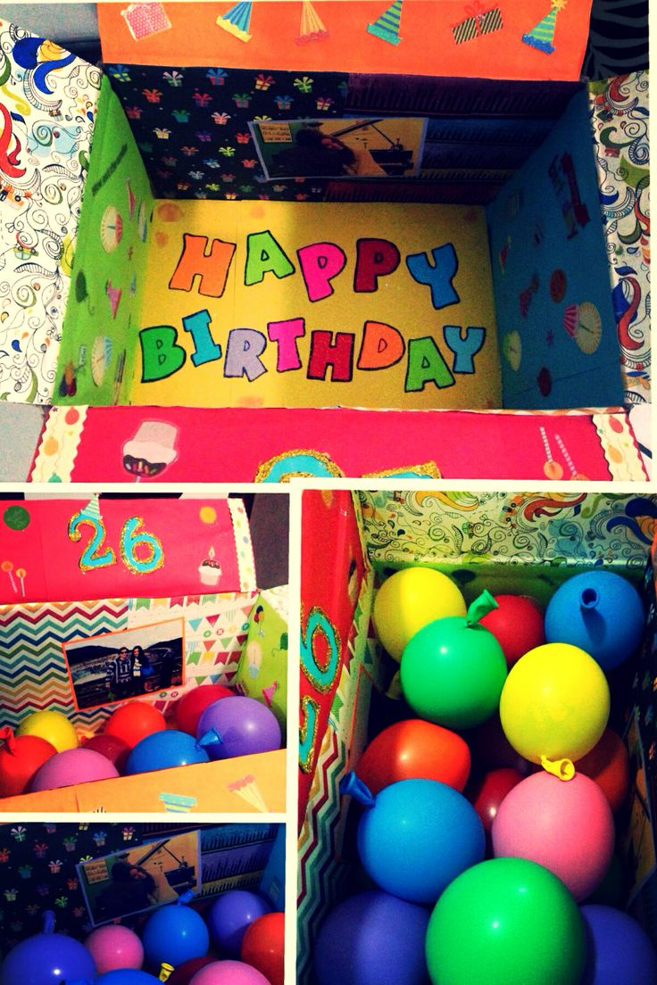 Long distance birthday care package:) Filled balloons with all his favorite candy and confetti...or money