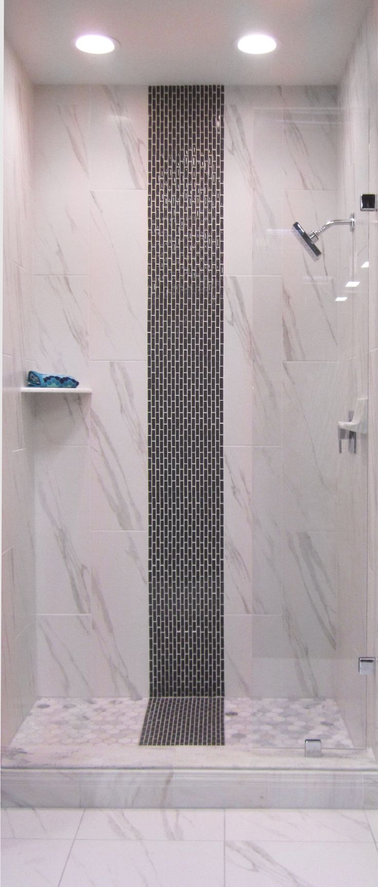 A Glass Strip Mosaic In The Shower Thetileshop