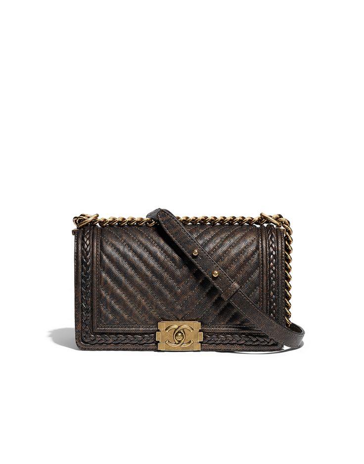 Bolsa BOY CHANEL, couro de novilho granulado, trança & metal dourado-dourado escuro & preto - CHANEL  14,5 x 25 x 9