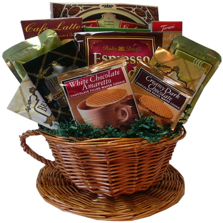 This whimsical gift basket is filled with premium coffee and great gourmet go-togethers cleverly presented in a woven wicker coffee cup! It's a great choice for any coffee lover to celebrate a special occasion or show your appreciation, even if you are miles away.