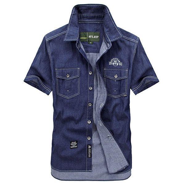 ASFJEEP Casual Denim Multil Pocket Plus Size Short Sleeves Dress Shirts for Men