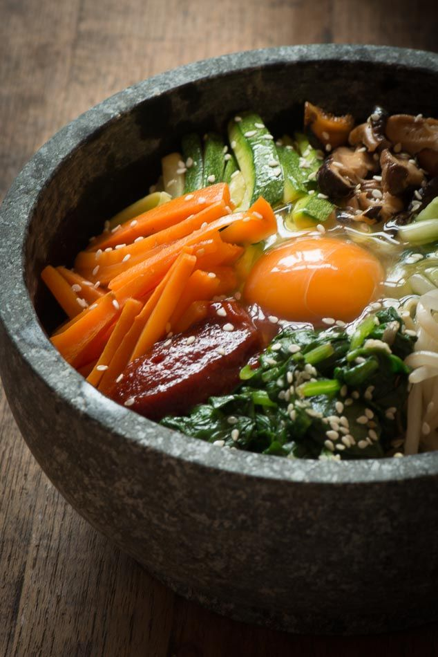 Korean Dolsot Bibimbap Recipe - served in a searingly hot stone bowl