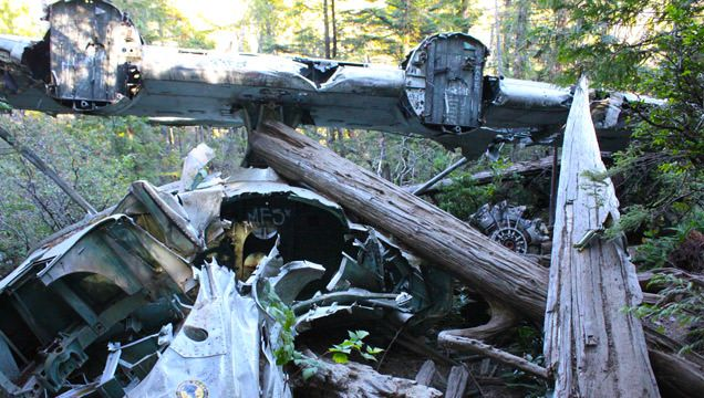 The hike to the 1945 Canso Plane Crash in Tofino pass an abandoned building and very muddy bog before reaching the incredible site of plane on the side of the mountain, still fairly in-tact.
