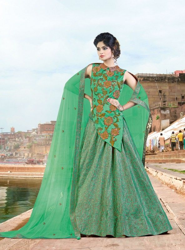 buy saree online Designer Rama Green Colour Jacquard and Silk Party Wear Lehenga Choli Buy Saree online - Buy Sarees online