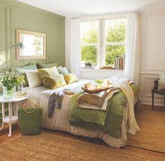 Dormitorios verdes. Psicología del color.