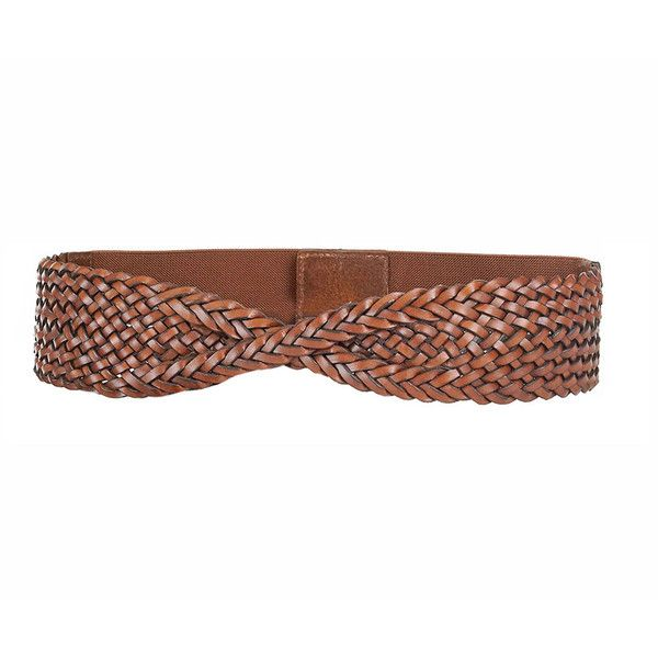 Neiman Marcus Braided Twist-Front Belt ($32) ❤ liked on Polyvore featuring accessories, belts, brown, braided belts, wide belts, wide braided belt, woven belt and wide brown belt