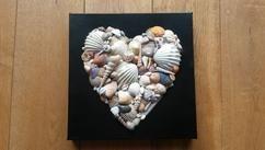 Schelpen gezocht op het strand en samengebracht tot een hart