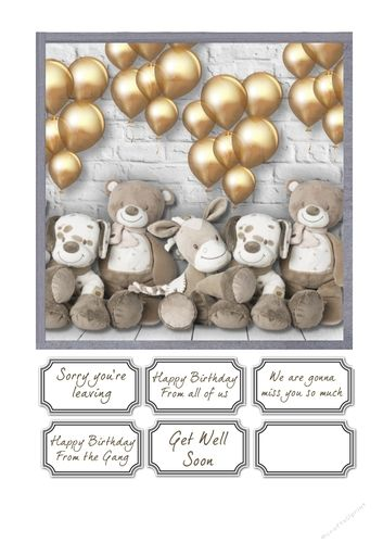 Sorry youre leaving, birthday or get well card by Susan Gilbert Simple but cute little card front for sorry you're leaving, birthday or get…