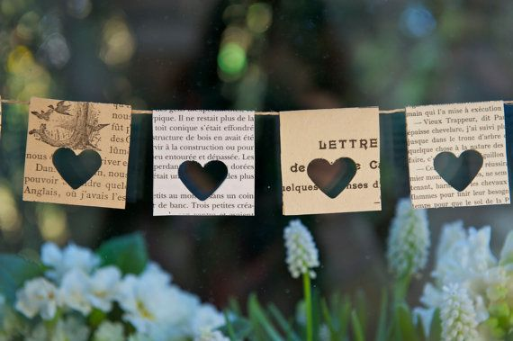 """Carta Garland, """"Je t'aime"""", ghirlanda di libri Vintage, matrimonio ghirlanda, ghirlanda di festa di compleanno, finestra arredamento, decorazione della casa"""