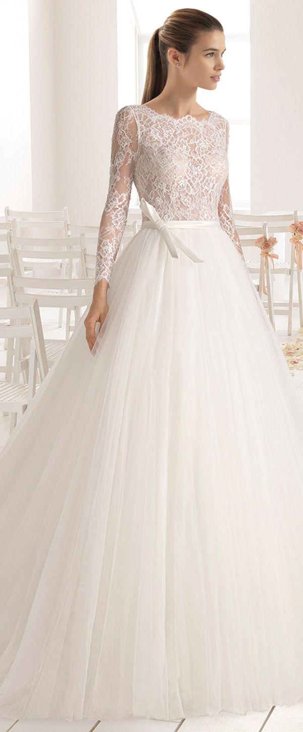 Fascinating Lace & Tulle Jewel Neckline Natural Waistline A-Line Wedding Dress With Beadings & Belt