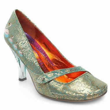 Irregular Choice Perspex Paisley Court An exciting suede court from Irregular Choice. The upper stands out with shiny tribal styled patterns throughout and is joined with prints of 4 pink swans. Functional bar feature at the front. Clear p http://www.comparestoreprices.co.uk/womens-shoes/irregular-choice-perspex-paisley-court.asp