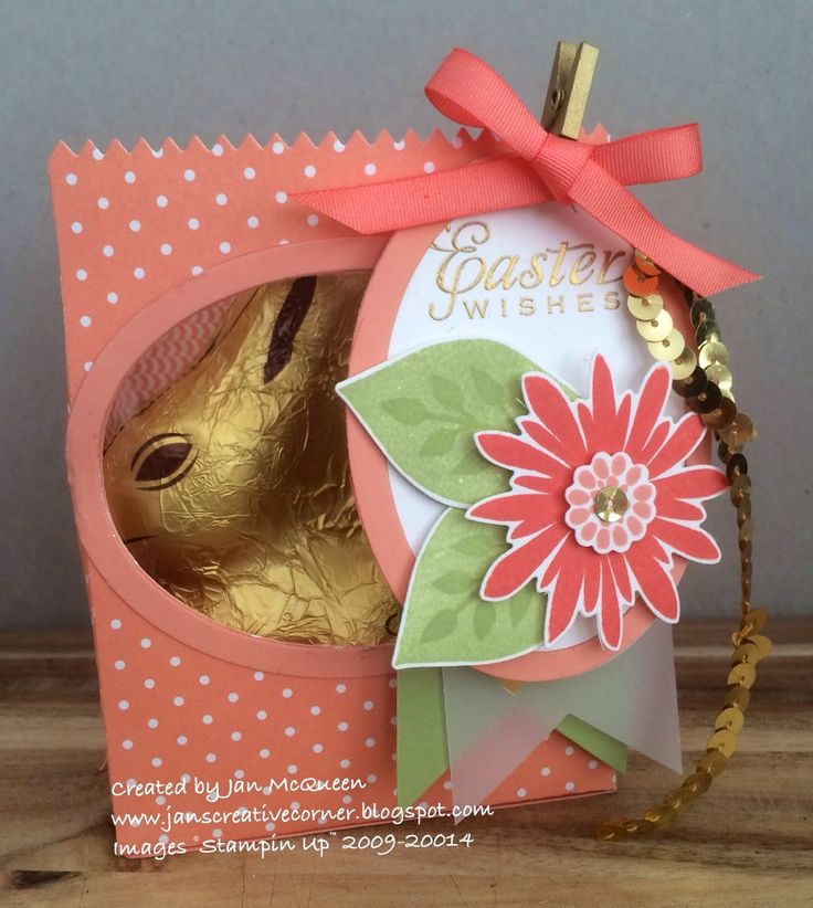 Easter Bunny Treat Bag Tag Using Stampin Up Mini Die Gorgeous Flower Patch By Jan McQueen