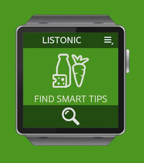 Grocery shopping tips for Samsung Gear smartwatches app animated GIF.